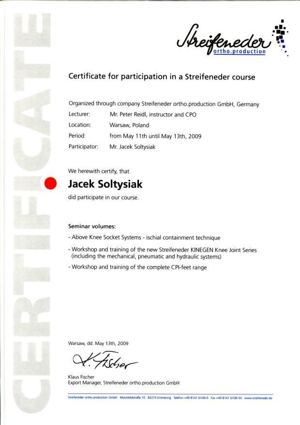 certifikat Streifeneder ortho.production