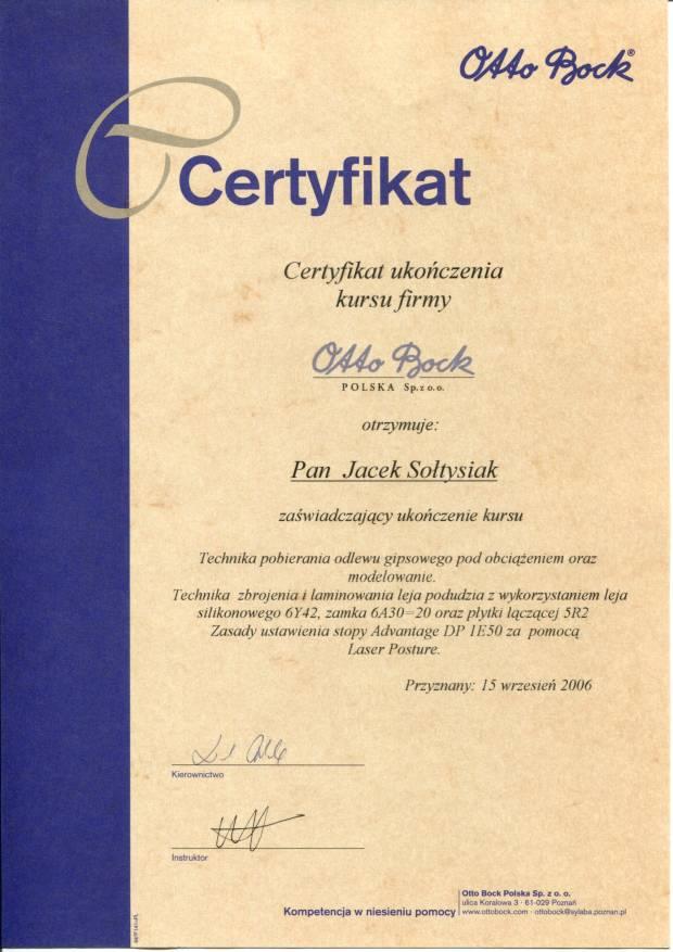 certyfikat otto bock