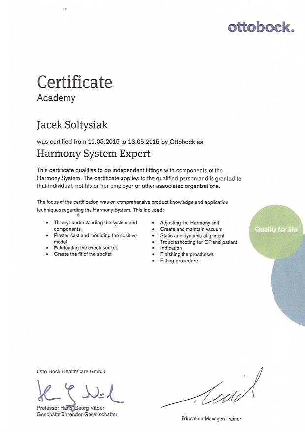 ottobock certificate