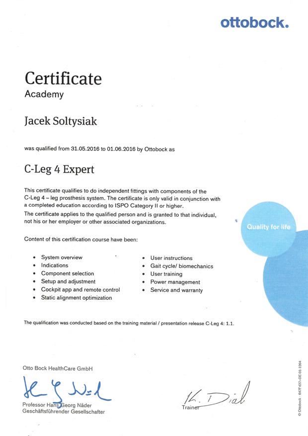 certyfikat ottobock